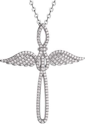 Diamonique Angel Wing Cross Pendant w/Chain, Sterling Silver