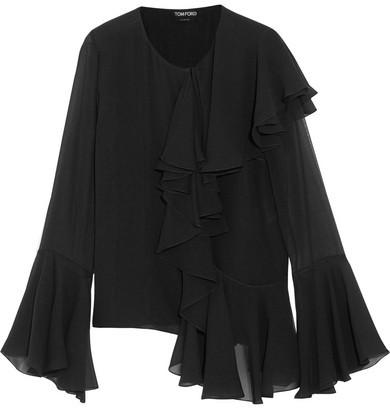 TOM FORD - Ruffled Silk-georgette Blouse - Black