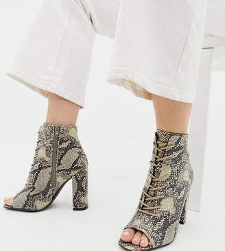New Look lace up block heeled sandal in snake pattern