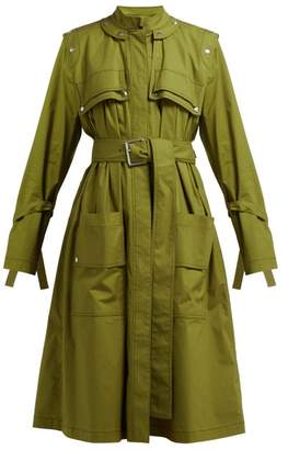 Proenza Schouler Belted Cotton Blend Single Breasted Trench Coat - Womens - Dark Green