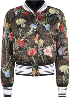 Off-White Off White Floral Crop Bomber Jacket