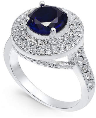 Charter Club Silver-Tone Crystal & Sapphire Stone Halo Ring, Created for Macy's