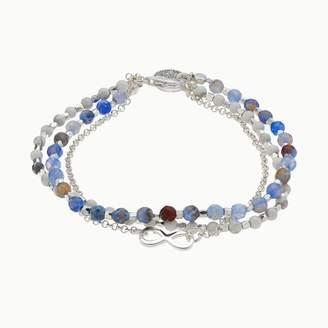 Love This Life love this life Blue Agate & White Quartz 3-Strand Infinity Charm Bracelet