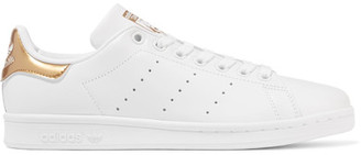 adidas Originals - Stan Smith Metallic-trimmed Leather Sneakers - White $85 thestylecure.com