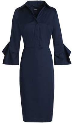 Badgley Mischka Stretch-Cotton Poplin Shirt Dress