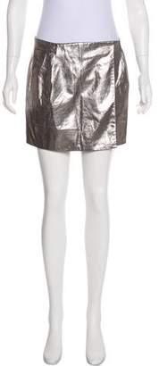 Diane von Furstenberg Metallic Leather Mini Skirt