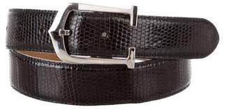 Cartier Silver-Tone Buckle Lizard Belt