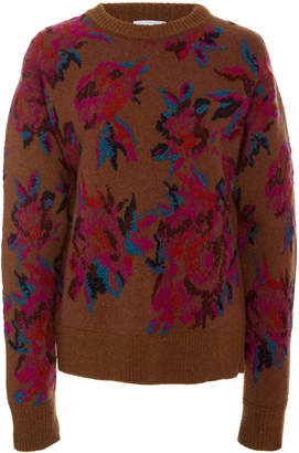 Salvatore Ferragamo Virgin Wool Floral Jacquard Sweater