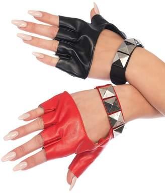 Leg Avenue Harley Two-Tone Studded Fingerless Gloves Womens Biker Black Red