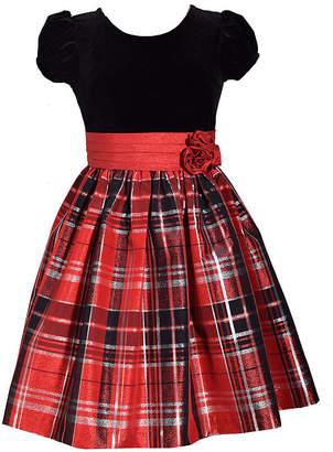Bonnie Jean Short Sleeve Plaid A-Line Dress Girls