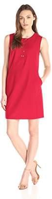 Lark & Ro Women's Sleeveless Snap Front Shift Dress