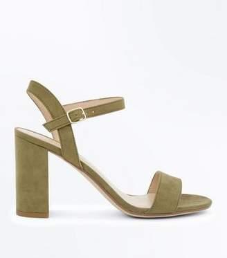 New Look Khaki Suedette Block Heel Sandals