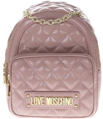 Love Moschino Pink Faux Leather Quilted Backpack