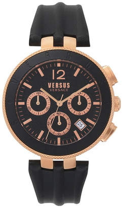 Versus By Versace Versus Men Logo Chronograph Black Leather Strap Watch 44mm