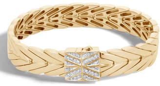 John Hardy Modern Chain Bracelet in 18K Gold with Diamond Clasp