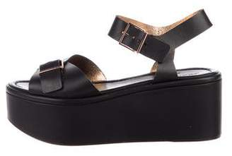 Robert Clergerie Leather Flatform Wedges