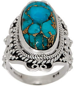 Artisan Crafted Sterling Elongated MojaveTurquoise Ring