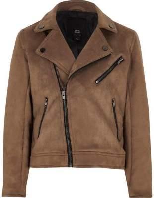 Boys brown faux suede biker jacket