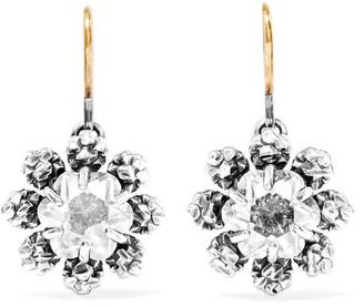 Bottega Veneta - Oxidized Sterling Silver Crystal Earrings - one size $450 thestylecure.com