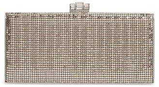Whiting & Davis Crystal Embellished Metallic Mesh Clutch