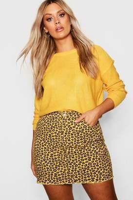 boohoo Plus Coloured Leopard Frayed Hem Skirt