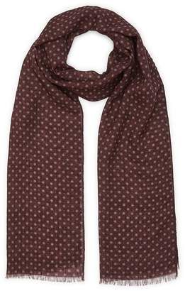 Reiss Owens - Wool Polka Dot Scarf in Burgundy