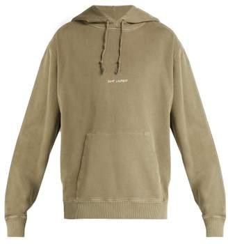 Saint Laurent Logo Print Washed Hooded Sweatshirt - Mens - Khaki