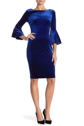 Modern American Designer Velvet Bell Sleeve Dress