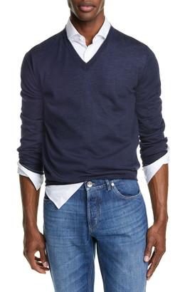 Brunello Cucinelli Fine Gauge Wool & Cashmere V-Neck Sweater