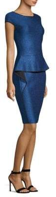 St. John Luster Sequin-Knit Peplum Sheath Dress