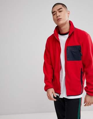 Diamond Supply Co. Fleece Zip Up In Red