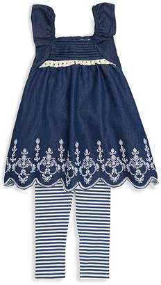 Jessica Simpson Baby Girl's Two-Piece Embroidered Top and Striped Leggings Set