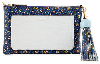 Tory Burch Colorblock Printed Tassel Crossbody Bag