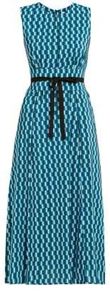 Cefinn - Rosie Geometric Print Tie Waist Dress - Womens - Blue Print