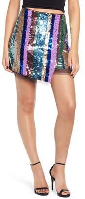 Endless Rose Asymmetrical Sequin Miniskirt
