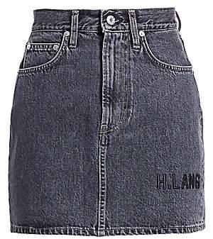 Helmut Lang Women's Femme Hi Embroidered Mini Denim Skirt