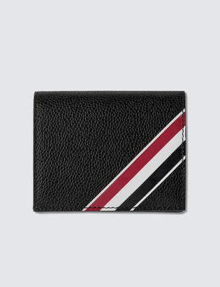 Thom Browne Double Card Holder W/ RWB GG Diagonal Intarsia Stripe In Pebble Grain