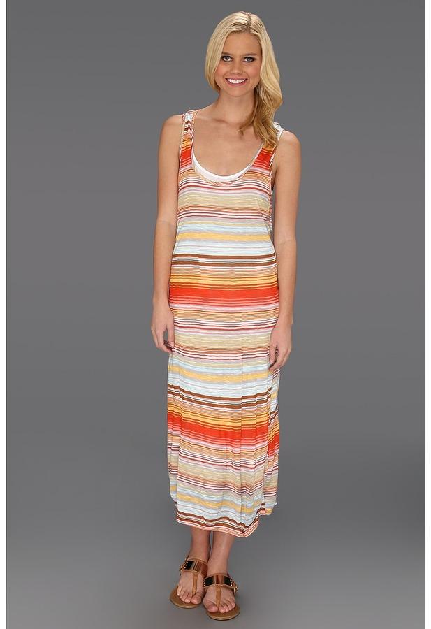 Michael Stars Happy Stripe Midi Tank Dress (Samba) - Apparel