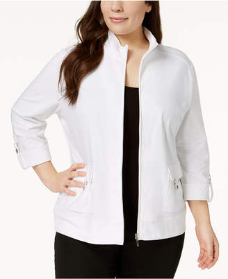 Karen Scott Plus Size Cotton Ring-Tab Jacket, Created for Macy's