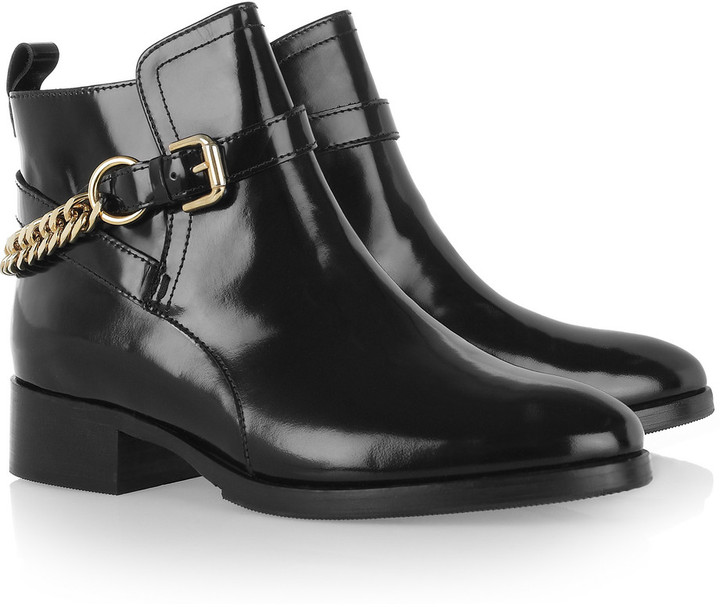 McQ Chain-detailed patent-leather ankle boots