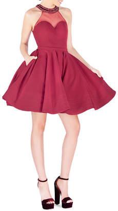 Mac Duggal Bejeweled Halter Illusion Fit-&-Flare Mini Dress w/ Pockets