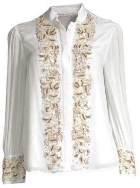 Alice + Olivia Zita Embellished Tuxedo Shirt