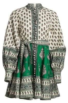 Zimmermann Amari Emerald Linen Multi-Print Dress