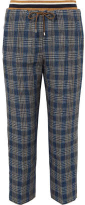 Brunello Cucinelli Checked Linen Track Pants - Blue