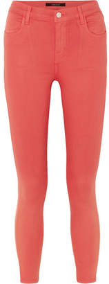 J Brand Alana Coated Mid-rise Skinny Jeans - Red