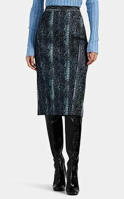 Zac Posen Women's Metallic Python-Pattern Jacquard Midi-Skirt - Blue Pat.