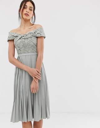 Little Mistress cross front lace top midi pleated skater dress in waterlily