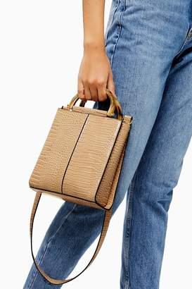 Topshop SARA Stone Croc Print Grab Bag
