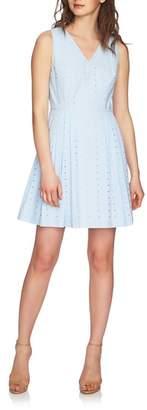 CeCe Clairborne Eyelet Fit & Flare Dress