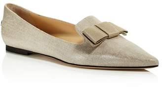 Jimmy Choo Women's Gala Pointed Toe Bow Flats
